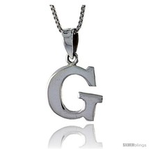 Sterling Silver Block Initial Letter G Aphabet Pendant Highly Polished, 1/2 in  - $17.00