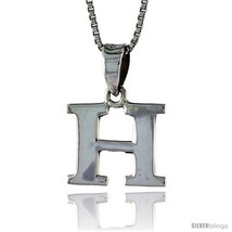 Sterling Silver Block Initial Letter H Aphabet Pendant Highly Polished, 1/2 in  - $17.00