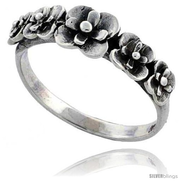 Sterling silver flower link ring 5 16 in wide