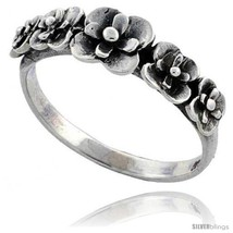 Size 9.5 - Sterling Silver Flower Link Ring 5/16 in  - $14.48