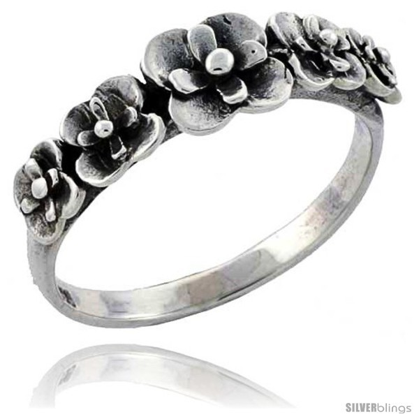 Size 9.5 - Sterling Silver Flower Link Ring 5/16 in
