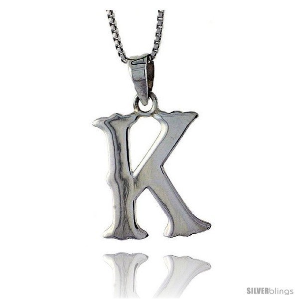 Sterling silver block initial letter k aphabet pendant highly polished 3 4 in tall