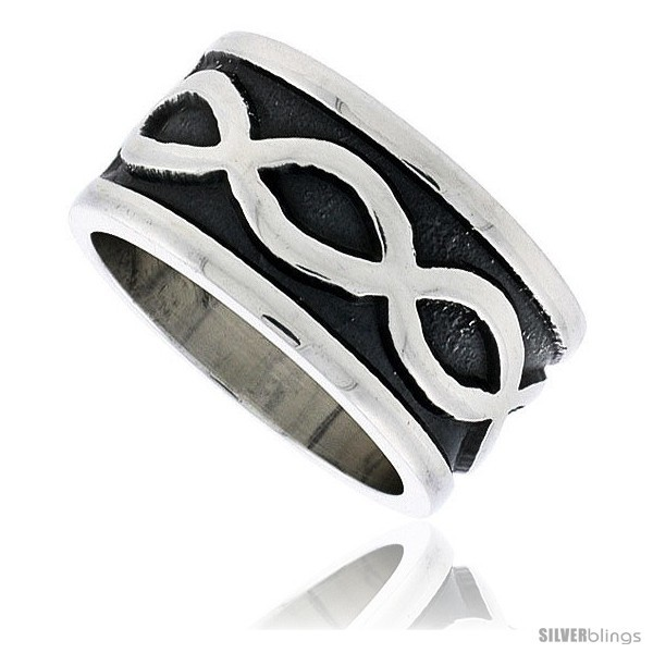 Sterling silver southwest design infinity symbols ring handmade 1 2 in wide