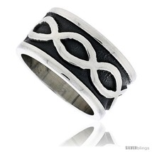 Sterling silver southwest design infinity symbols ring handmade 1 2 in wide thumb200