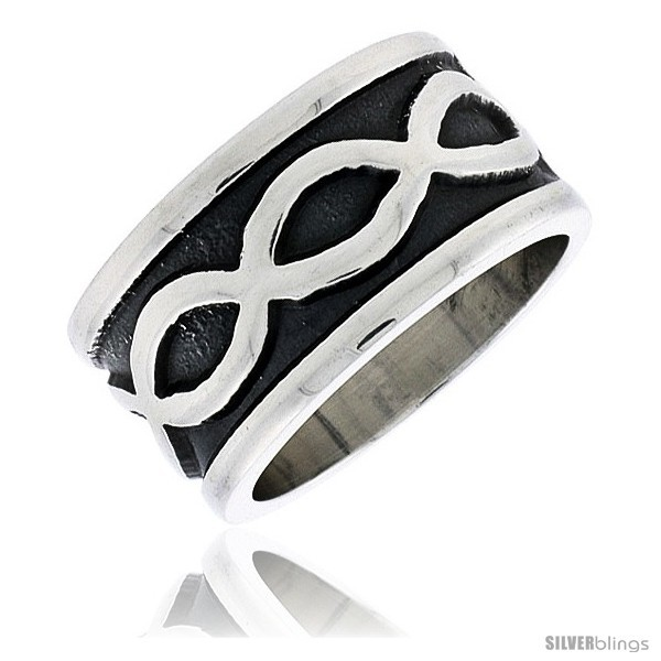 Size 7.5 - Sterling Silver Southwest Design Infinity Symbols Ring Handmade 1/2