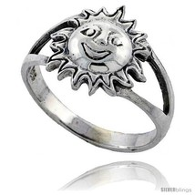 Size 9 - Sterling Silver Large Sun Ring 7/16 in  - $13.97