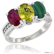 white gold natural ruby lemon quartz malachite ring 3 stone 7x5 mm oval diamond accent thumb200