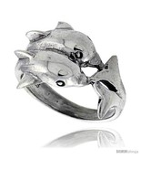 Size 7.5 - Sterling Silver Double Dolphin Polished Ring 5/8 in  - $22.33