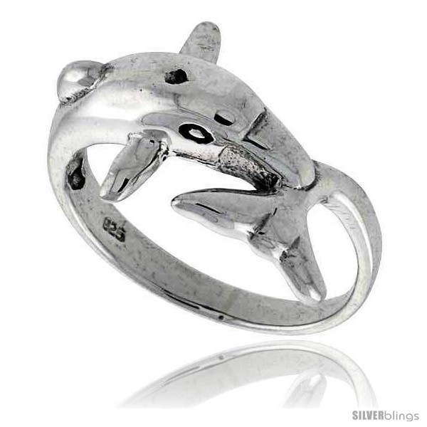 Sterling silver dolphin polished ring 1 2 in wide