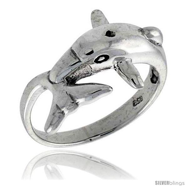 Size 8.5 - Sterling Silver Dolphin Polished Ring 1/2 in