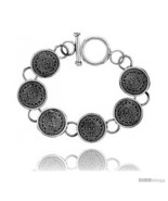 Length 8 - Sterling Silver Aztec Calendar Bracelet Toggle Clasp Handmade... - $240.58