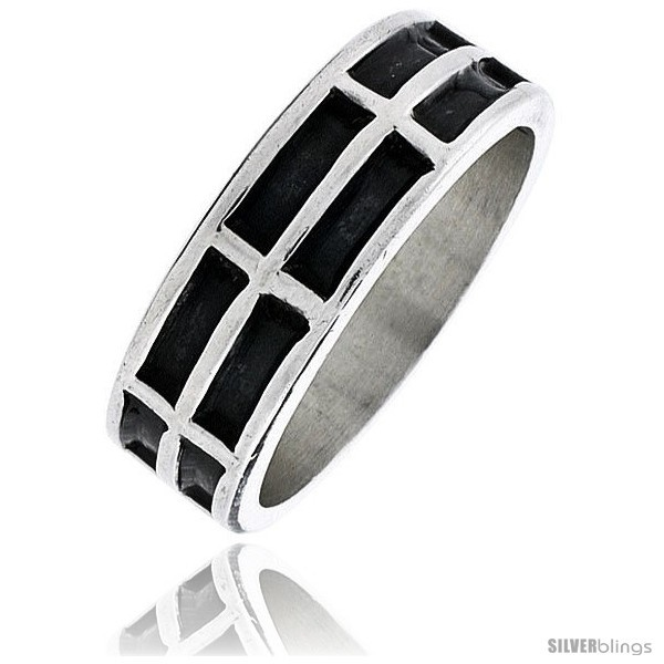 Sterling silver southwest design 2 row rectangles ring 1 4 in wide