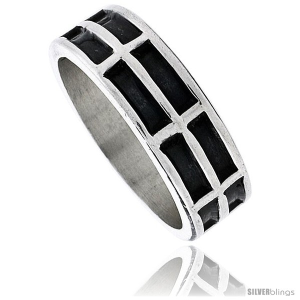 Size 13 - Sterling Silver Southwest Design 2-row Rectangles Ring 1/4 in