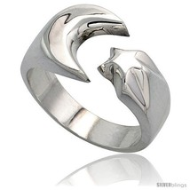 Size 8 - Sterling Silver Crescent Moon & Star Ring Handmade 1/2 in  - $46.27