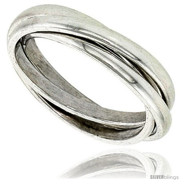 Sterling silver rolling ring w 3 mm domed bands handmade