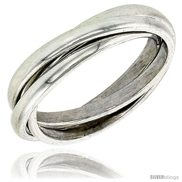 Size 14 - Sterling Silver Rolling Ring w/ 3 mm Domed Bands