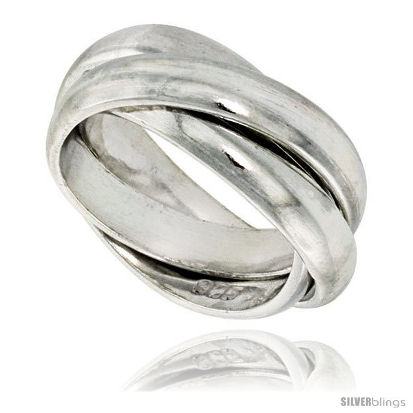 Sterling silver rolling ring w 5 mm domed bands handmade