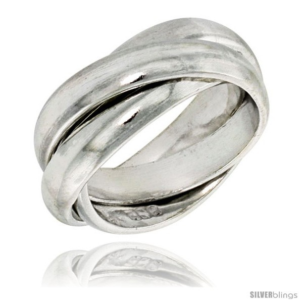 Size 10 - Sterling Silver Rolling Ring w/ 5 mm Domed Bands