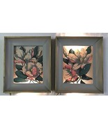 Pair of 1950's REVERSE PAINTED MAGNOLIA WALL BO... - $183.15