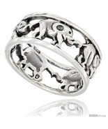 Size 7 - Sterling Silver Elephant Link Wedding Band Ring 5/16 in  - $26.51