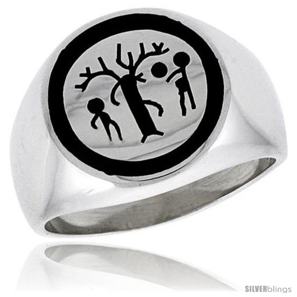 Sterling silver forbidden fruit ring w adam eve the serpent