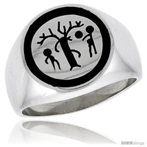 Size 13 - Sterling Silver Forbidden Fruit Ring w/ Adam & Eve & the  - $71.75
