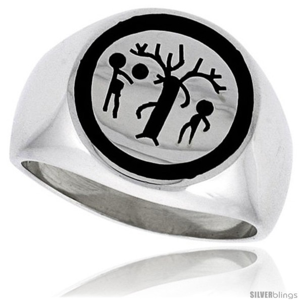 Size 13 - Sterling Silver Forbidden Fruit Ring w/ Adam & Eve & the
