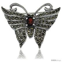 Sterling Silver Marcasite Butterfly Brooch Pin w/ Oval Cut Garnet Stone, 1 1/4  - $81.12
