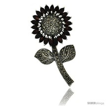 Sterling Silver Marcasite Large Sunflower Brooch Pin w/ Marquise Cut Garnet  - $134.94