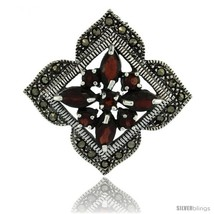 Sterling Silver Marcasite Clover Brooch Pin w/ Round & Marquise Cut Garnet  - $94.38