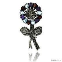 Sterling Silver Marcasite Large Sunflower Brooch Pin w/ Pear Cut Garnet,  - $123.24