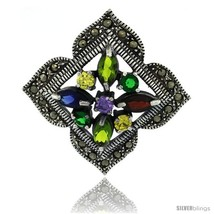 Sterling Silver Marcasite Clover Brooch Pin w/ Round & Marquise Cut Multi  - $94.38