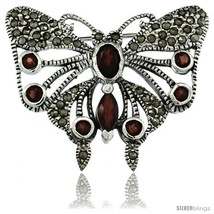 Sterling Silver Marcasite Butterfly Brooch Pin w/ Round, Oval & Marquise Cut  - $86.58
