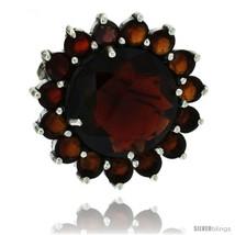Sterling Silver Marcasite Large Flower Brooch Pin w/ Round Garnet Stones, 1 1/8  - $88.14