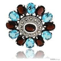 Sterling Silver Marcasite Large Flower Brooch Pin w/ Oval Cut Garnet & Blue  - $156.00
