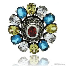Sterling Silver Marcasite Large Flower Brooch Pin w/ Oval Cut Multi Color  - $156.00