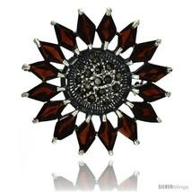 Sterling Silver Marcasite Flower Brooch Pin w/ Diamond Shape Garnet Stones, 1  - $94.38