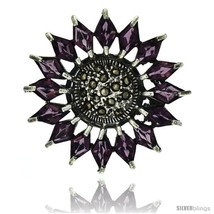 Sterling Silver Marcasite Flower Brooch Pin w/ Diamond Shape Amethyst Stones, 1  - $94.38