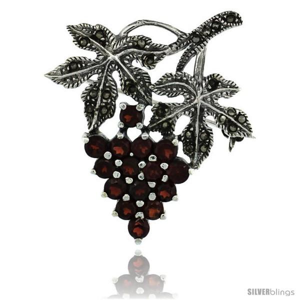 Sterling Silver Marcasite Grape Cluster Brooch Pin w/ Round Garnet Stones, 1  - $65.52