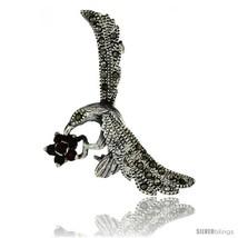Sterling Silver Marcasite Hummingbird Brooch Pi... - $28.67