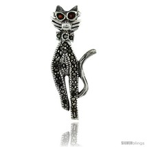 Sterling Silver Marcasite Cool Cat Brooch Pin w/ Round Garnet Stones, 1 7/16 in  - $31.98