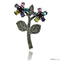 Sterling Silver Marcasite Double Flower Brooch Pin w/ Round & Oval Cut Multi  - $102.18