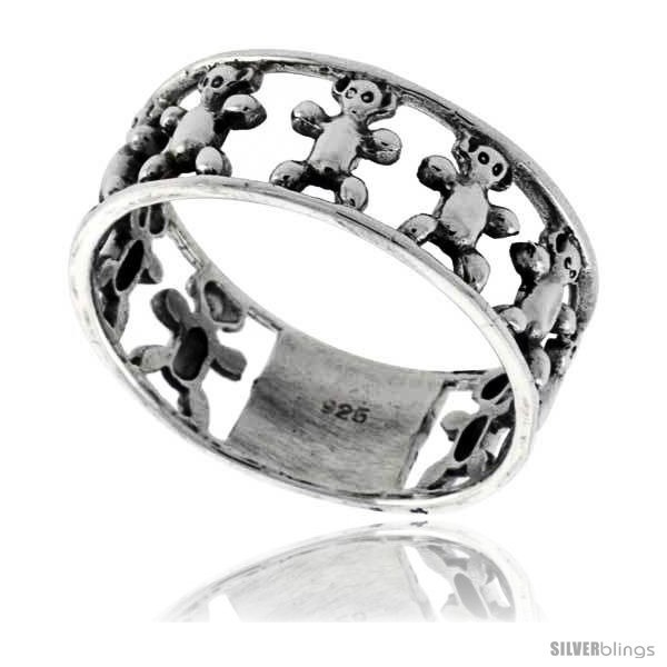 Sterling silver teddy bear link wedding band ring 5 16 in wide
