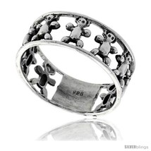 Size 9 - Sterling Silver Teddy Bear Link Wedding Band Ring 5/16 in  - $20.24