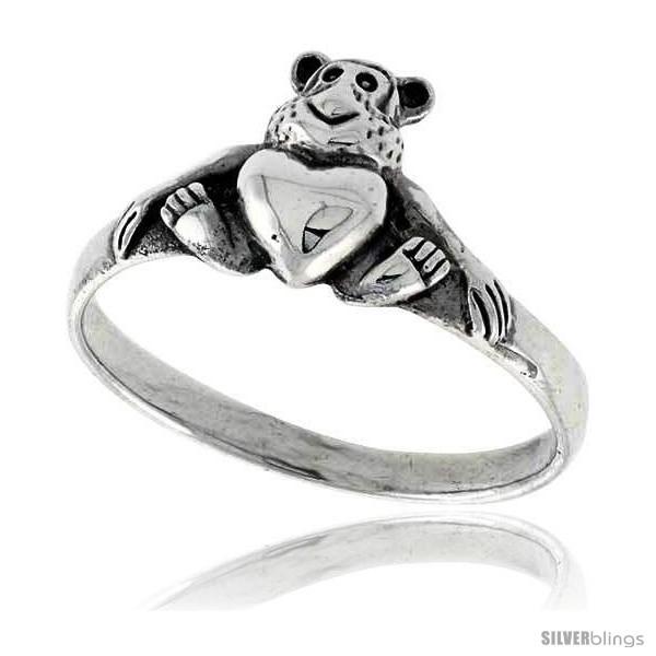 Sterling silver teddy bear w heart ring 3 8 wide