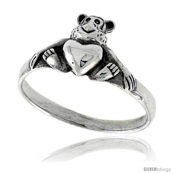 Sterling silver teddy bear w heart ring 3 8 wide