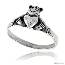 Sterling silver teddy bear w heart ring 3 8 wide thumb200