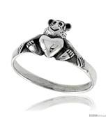 Size 7.5 - Sterling Silver Teddy Bear w/ Heart Ring 3/8  - $17.57
