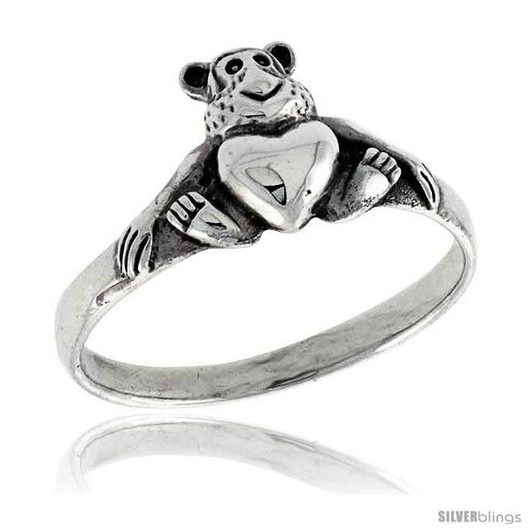 Size 6 - Sterling Silver Teddy Bear w/ Heart Ring 3/8