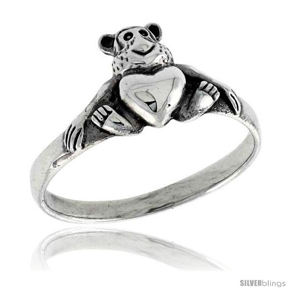 Size 7 - Sterling Silver Teddy Bear w/ Heart Ring 3/8